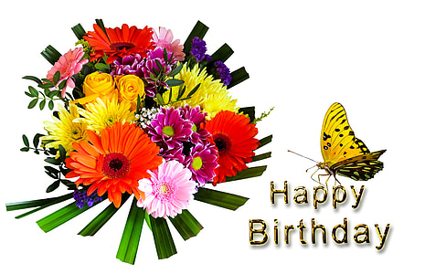 assorted-color flowers bouquet with happy birthday text overlay