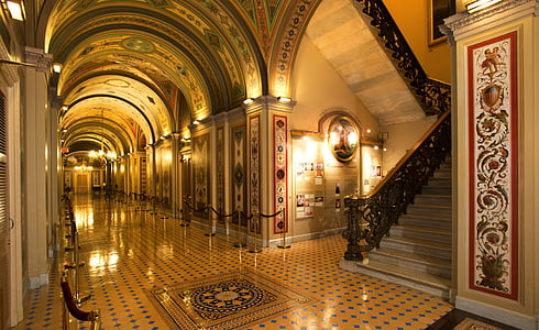 brown hallway with lights