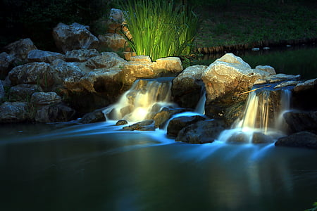 water flowing on time lapse photography