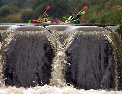 several people kayaking on waterfalls