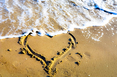heart drawing on beach sand
