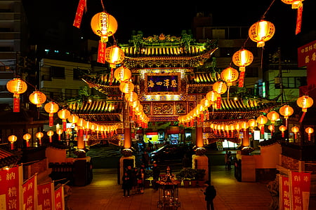 brown temple with chinese lanterns