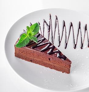 chocolate slice cake on plate