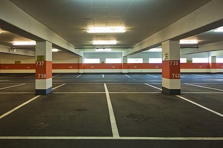 white and orange parking lot