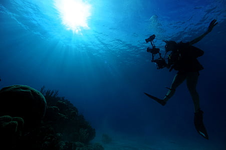 persong diving under a body of water