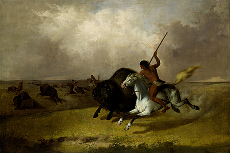 native American riding horse hunting bison painting