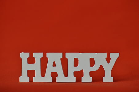 Happy freestanding letter on red background