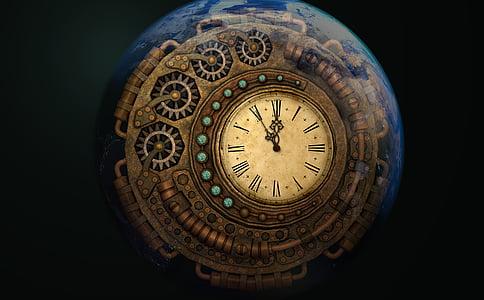 round brown clock showing 11:55