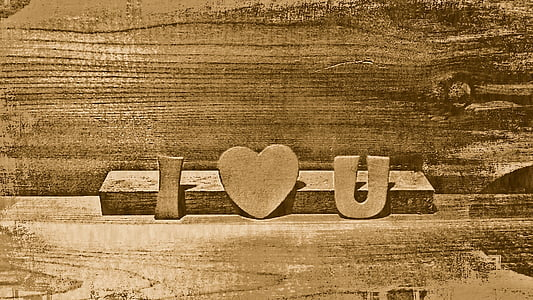 brown I Love U freestanding letters