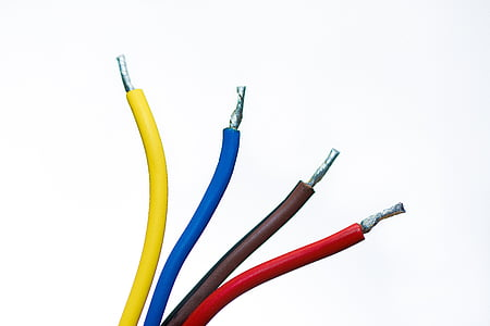 four yellow, blue, brown, and red coated wires