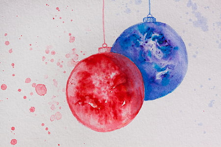red and blue baubles painting