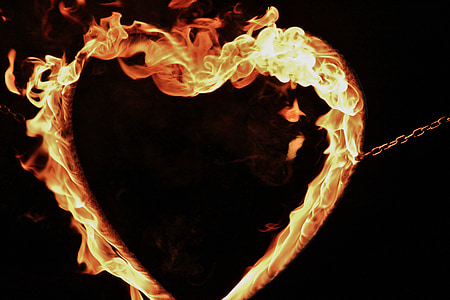 heart-shape fire ring wallpaper