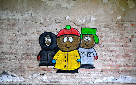 three Southpark characters wall graffiti