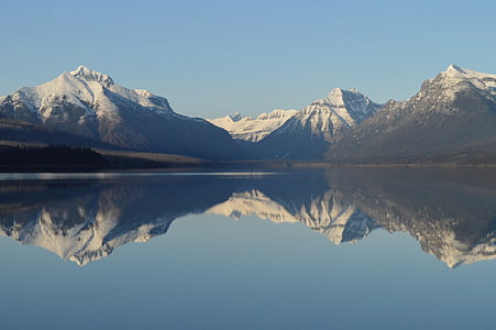 panoramic photo of lake beside snow-capped mountains with reflection on water