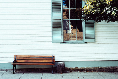 brown wooden bench