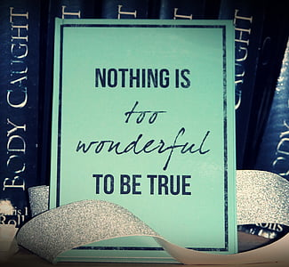 Nothing is too wonderful to be true sign