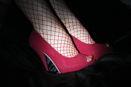 woman wearing red heels