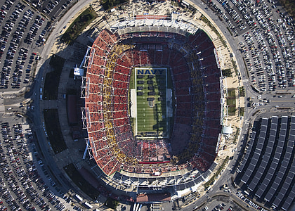aerial photography of NFL stadium