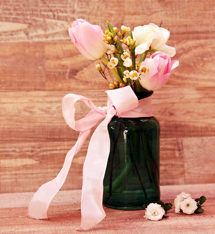 Royalty Free Photo White Flowers In Green Glass Vase With Pink