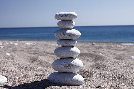 stack of stones near beach