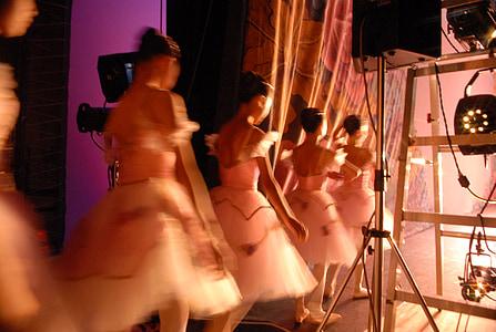 five ballerinas beside stage