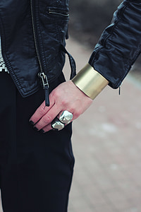 person in black leather jacket