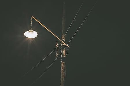 post lamp during nighttime
