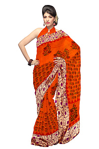woman wearing red and black floral saree