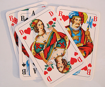 several assorted playing cards