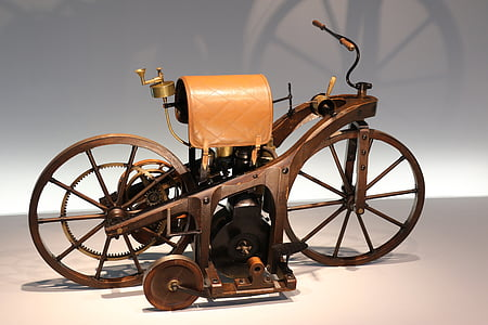 brown motorized bicycle decor