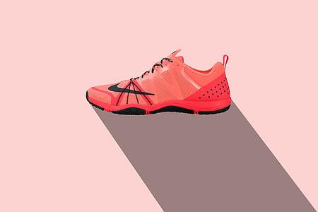 unpaired men's red Nike running shoe