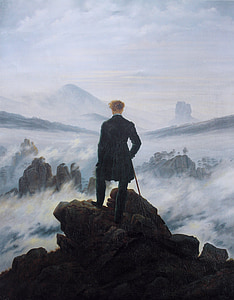 man standing on mountain covered with fog at daytime painting