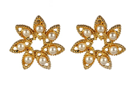 pair of gold-colored earrings with white pearls