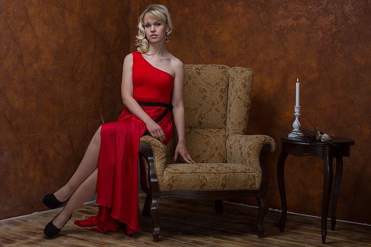 girl, beautiful, beauty, model, women, red dress