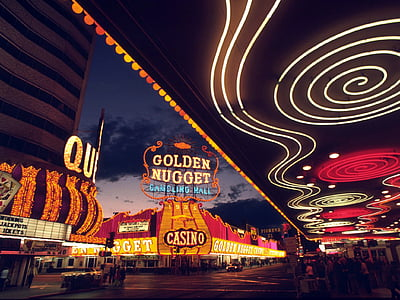 Golden Nugget Casino sign at night time