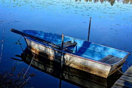 blue and brown canoe on water during daytime