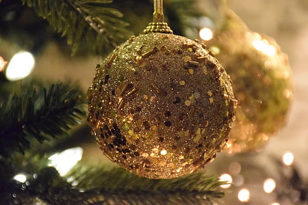 closeup photo of brown glittered baubles