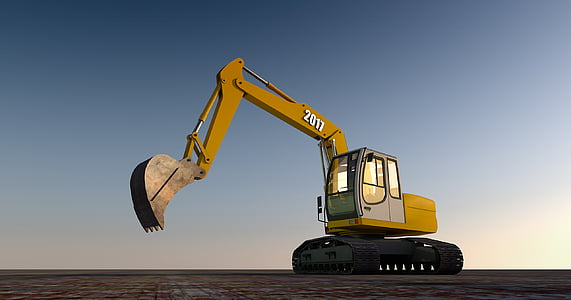 yellow and black excavator