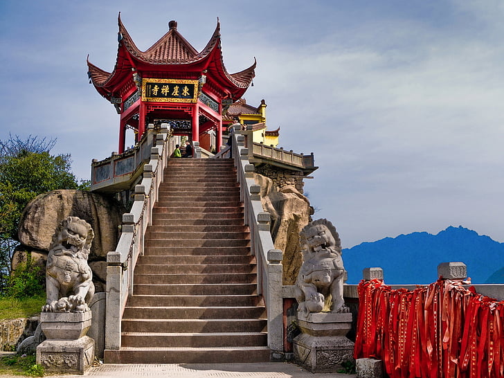 red and yellow concrete pagoda