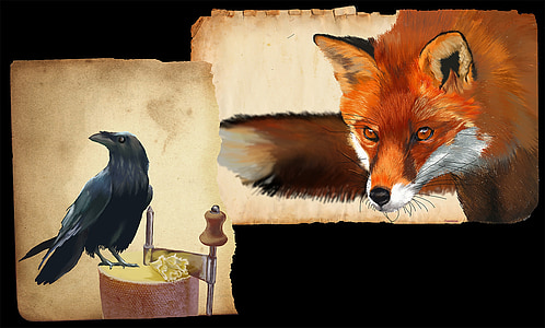 cut-out photo of red fox and crow