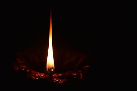 lighted light at dark area