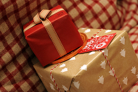 two brown and red gift boxes