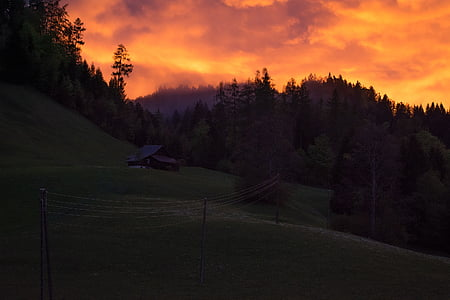 landscape, weather mood, sunset, dark, sky, clouds