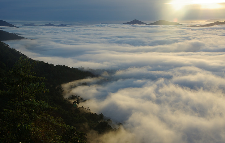 mountain ranges beside cloudy sky