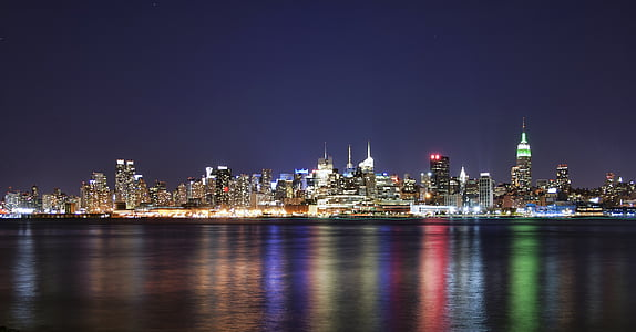 panoramic photography of skyline cityscape at nightime
