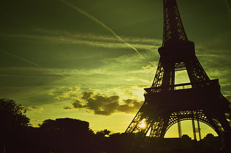 silhouette photo of Eiffel tower during sunset