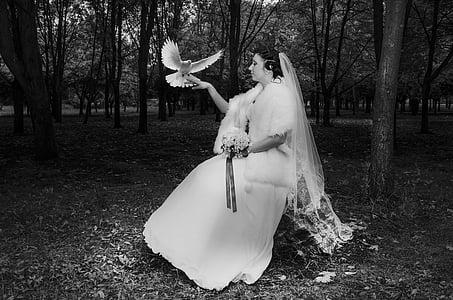 grayscale photo of woman wearing white dress