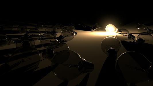 low angle photography of light bulbs