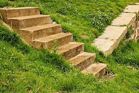 concrete stairs on green grass field