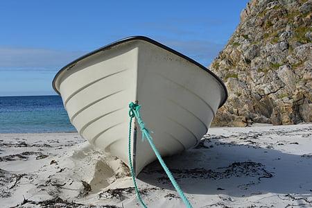 white canoe beside sea